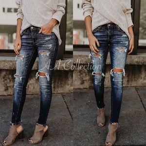 Denim - Distressed jeans denim skinny ripped skinnies
